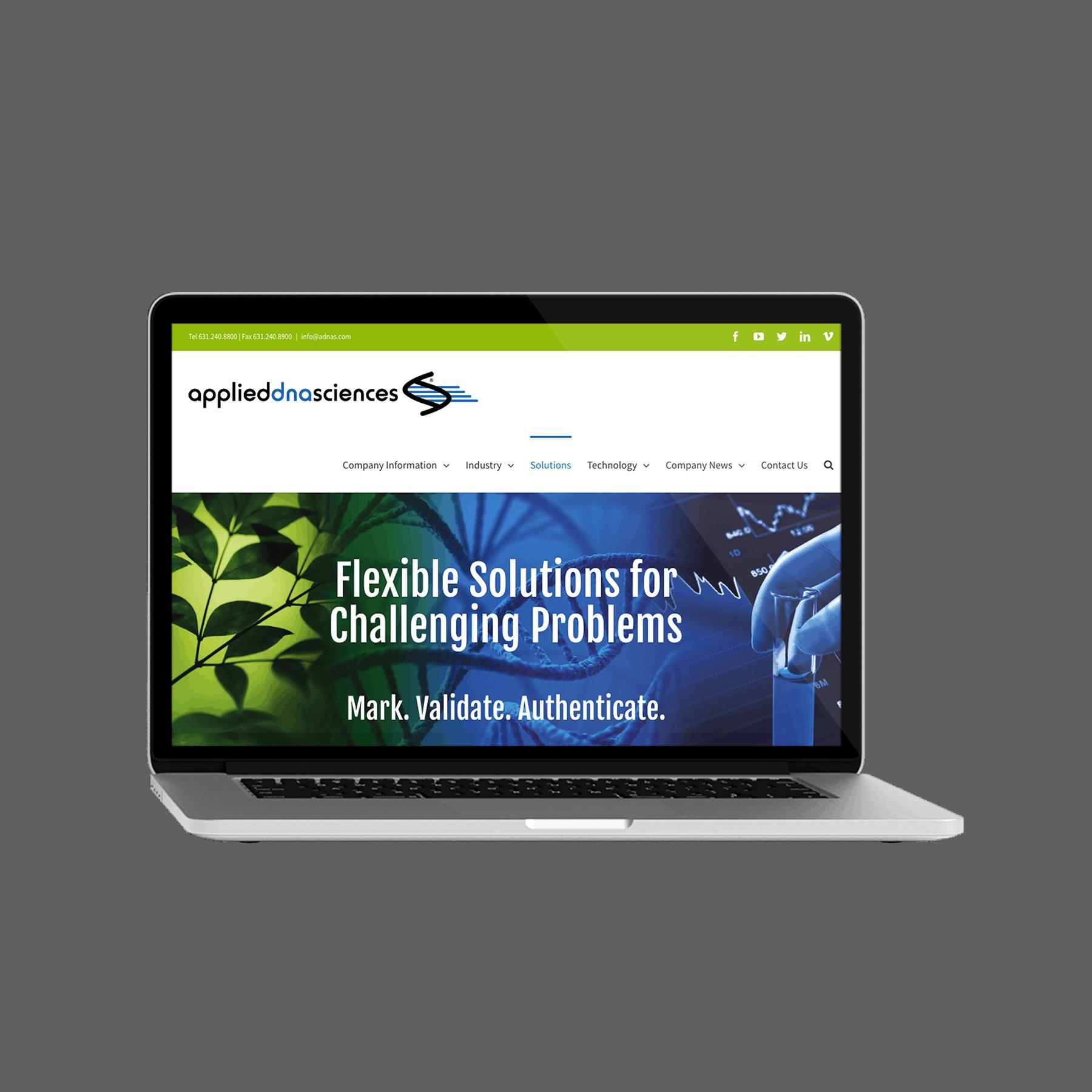 ADNAS (Applied DNA Sciences) Website Design viewed on Laptop