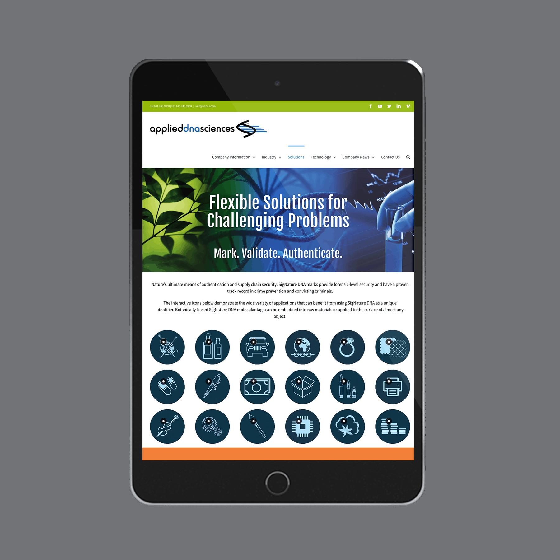 ADNAS (Applied DNA Sciences) Website Design