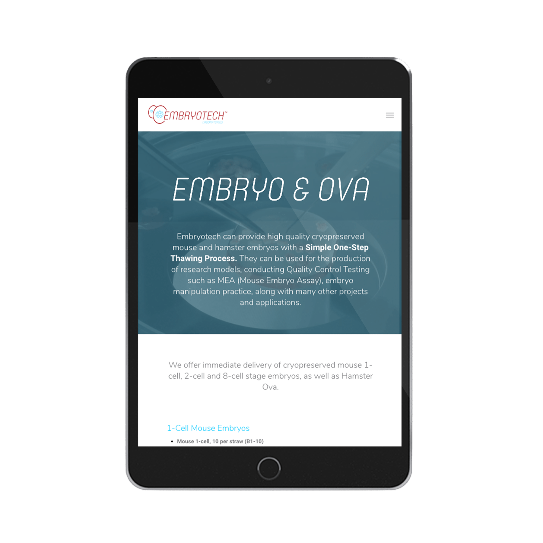 Embryotech Laboratories Website Design